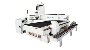Side-mounted rotary axis woodworking CNC router