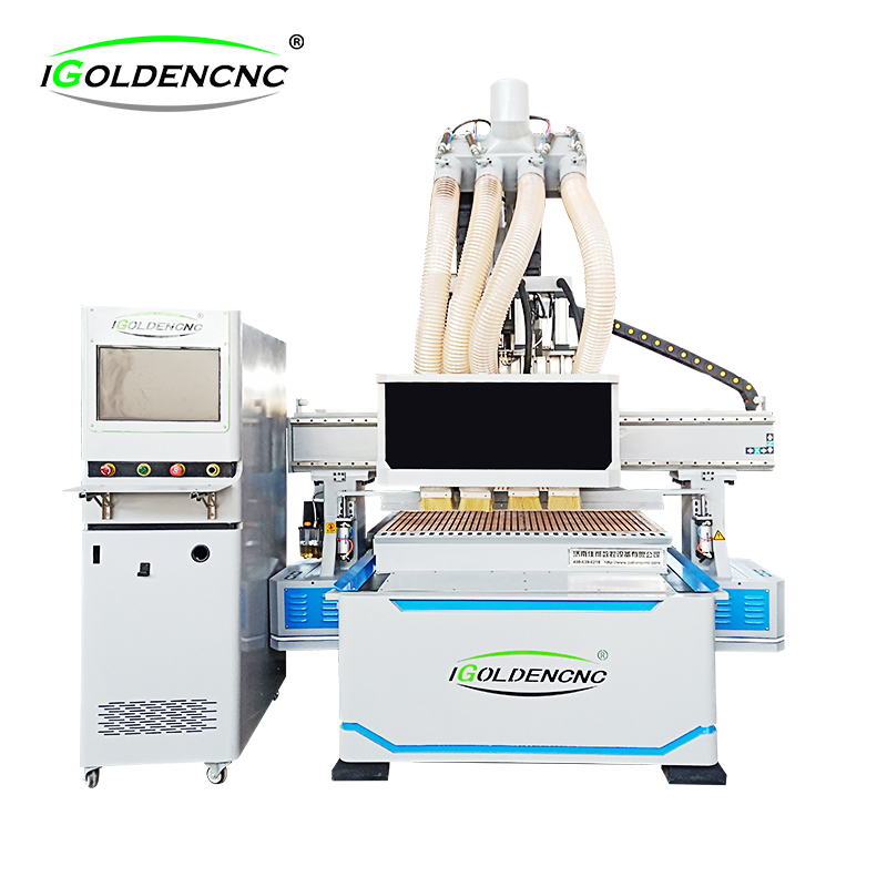 Four-process CNC router for furniture/cabinet making